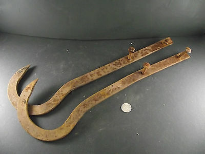 2 Antique Large Heavy Metal Hooks For Tack Or Farm Supplies Barn Salvage