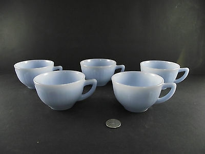 5 Pyrex Blue Glass Tea Cups