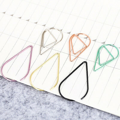 1Pack Metal Material Water Drop Shape Bookmark Stationery Marking Paper Clips