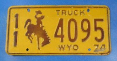 1974 Wyoming Truck License Plate 11-4095                                  Ul4008