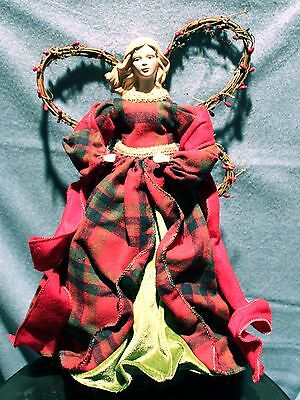 "COUNTRY ANGEL CHRISTMAS TREE TOPPER 16"" Beautiful Red Plaid Classic Holiday NEW"