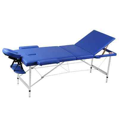 Aluminium Portable Massage Table 3 Fold Beauty Therapy Bed Waxing 68cm Blue