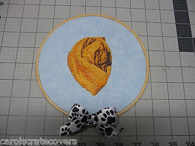Chow Chow Red Head Embroidered Wall Hanging Handmade 6 inch wooden hoop
