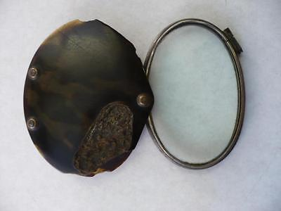 Antique Pocket  White  Metal & Faux Tortoiseshell Magnifying Reading Glass