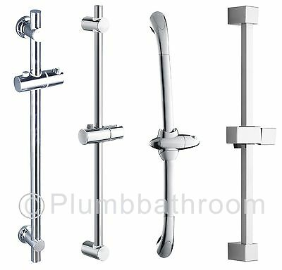 Adjustable Chrome Bathroom Shower Riser Rail Bracket Shower Head Holder Bar Kit