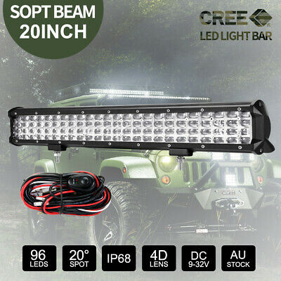 20inch CREE LED Light Bar Driving Work Bar Quad Rows SPOT Beam & Wiring Kit