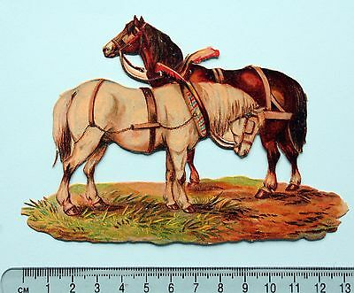 Good Victorian Embossed Scrap 2 Horses White Brown 13.5  Cm