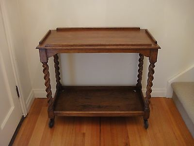 Antique Drink / Tea / Butler's / Serving Trolley With Barley Twist Legs