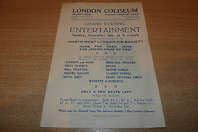 VINTAGE 1929 LONDON COLISEUM FLYER - ALFREDO and BAND + OTHERS - PLEASE LOOK!