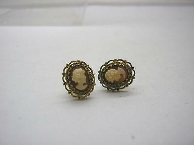 1950s Vintage 9ct Gold Cameo Stud Earrings