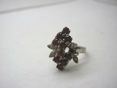 Vintage 1950s Silver Natural Ruby & White Sapphire Cocktail Ring size Q