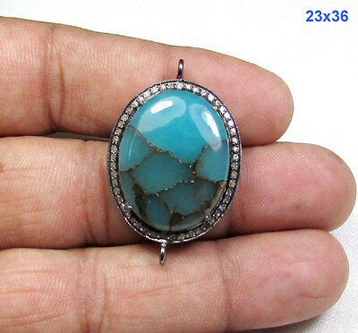 0.61 CT Pave Diamonds, Sterling Silver Blue Copper Turquoise Connector Link
