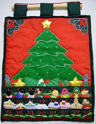 EMBROIDERED FABRIC CHRISTMAS VILLAGE ADVENT CALENDAR W/VELCRO PIECES~19 x 26