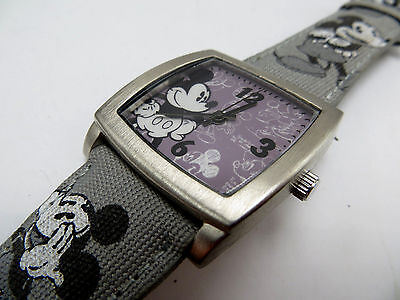 Disney Mickey Mouse Watch Limited Release Disney Parks Gray Leather & Canvas