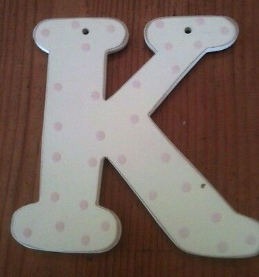 "Hand Painted Wood Letter ""k"" By Smile For The Birdie--White With Pink Dots"