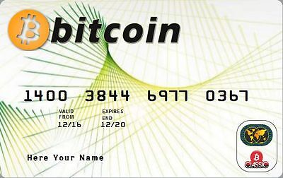 0.5 BTC Bitcoin Plastic Card Certificate Personalized with your name