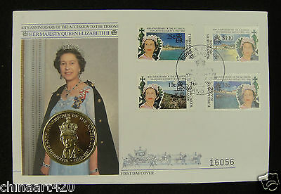 Turks and Caicos First Day Cover,40th Anniversary of the Accession to the Throne