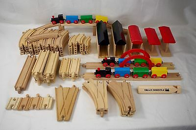 Wooden Train Track Huge Lot Thomas Friends and Brio Compatible 95+ pieces Wood