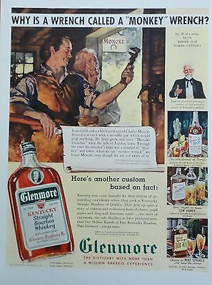 1939 PRINT AD GLENMORE KENTUCKY BOURBON why is a wrench called a monkey wrench