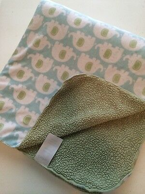 Carter's Blue Green Elephant Baby Blanket Reversible Sherpa