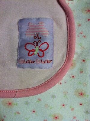 Carter's Just One Year Pink White Butterfly Flutter Baby Blanket Cotton