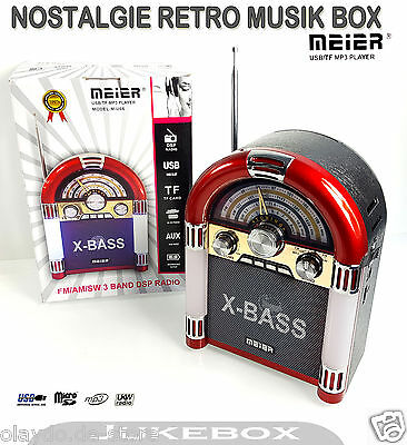 MEIER®|ROT Nostalgie Retro Juke Box Radio MP3 Player Weltempfänger Musik Box LED