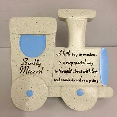 BLUE TRAIN GRAVE MEMORIAL TRIBUTE Stone Effect Graveside Ornament SADLY MISSED