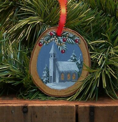 Hand Painted Wood Slice Christmas Ornament Country Church Snow Cabin Decor