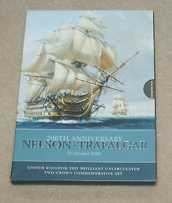 Nelson & Trafalgar 2 x £5 Coin 2005  Five Pound commemorative pack Uncirculated