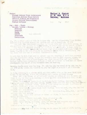 Original 1950 letter to FORREST ACKERMAN from WALTER A. COSLET re: Weird Tales.