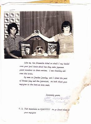 Vintage 1974 FAMOUS MONSTERS fan letter to FORREST ACKERMAN including photo!