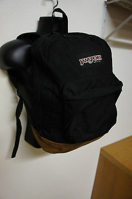 Vintage Jansport Black Vtg Leather Bottom Retro Backpack Book Bag Pack