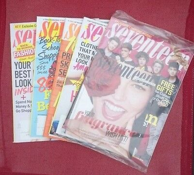 Lot of 5 SEVENTEEN Magazines August 2013 - January 2014 NEW