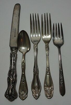 5 Piece Vintage Lot of Silver Plate Dinner Forks, Spoon, Knife Mixed Patterns