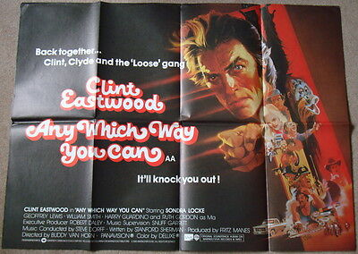 ANY WHICH WAY YOU CAN - Clint Eastwood - Original 1980 30x40 UK Quad film poster