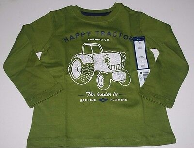 Toddler Boys Long Sleeve Shirt Size 3T Green NWT Tractor Farm Country