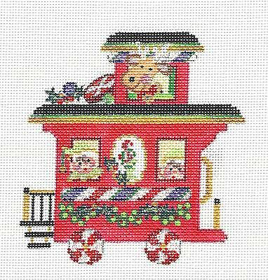 S.ORDER ~ Strictly Christmas Santa Express Caboose handpaintd Needlepoint Canvas