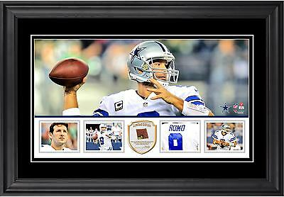 Tony Romo Dallas Cowboys Framed 10x18 Panoramic with Piece of Game-Used Football