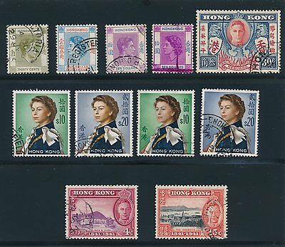 Hong Kong (11) ISSUES (1938 - 1962) ALL USED VF, CAT VALUE $100+