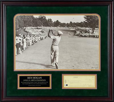 Ben Hogan Autographed Framed Check With 1 Iron Poster Limited Edition of 500