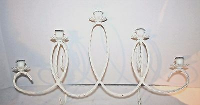 Vintage White Metal Glass Sconce Candle Holder Wall Decor