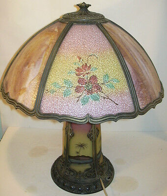 Antique Pittsburgh Chipped Ice Reverse Painted Table Lamp Shade