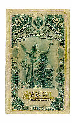 Finland … P-5a … 20 Markkaa … 1898 … *F*  Serial not listed in pick.