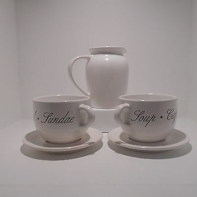 Coffee,cappuccino,cereal Or Soup Mugs With Pitcher White With Black Lettering