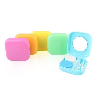 Portable Mini Contact Lens Case Travel Kit Easy Mirror Storage Container Box ZT
