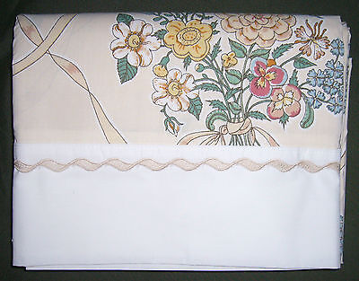 """Vintage J C Penney Full/double Flat Sheet """"Ribbon Bouquet"""" Cot/poly Percale, Nip"""