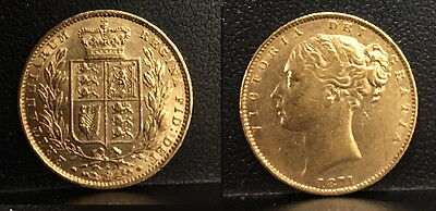 1871 Full Sovereign Queen Victoria Young Head & Shield Reverse--Nice & lustrous