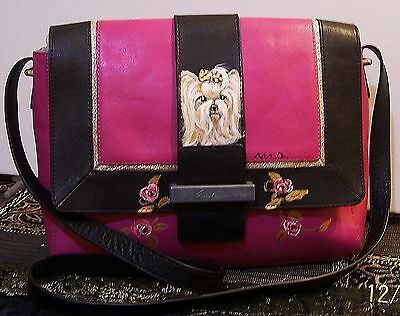 hand painted 2 Yorkies on front and back large Foley Corinna genuine leather bag