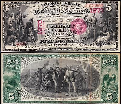 """Awesome RARE Crisp VF++ 1875 $5 """"FIRST CHARTER"""" VINCENNES, IN National Note!"""