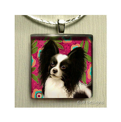 Papillon Dog Necklace Art Gift Pet Beaded Charm Jewelry Glass Tile Pendant Chain